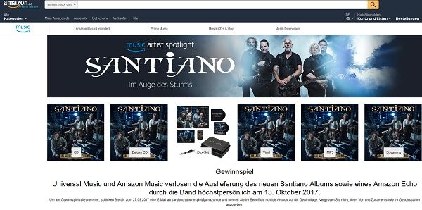 Amazon Gewinnspiel Santiano Echo 2017