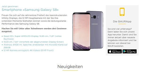 Baur Versand Gewinnspiel Samsung Galaxy S8 2017