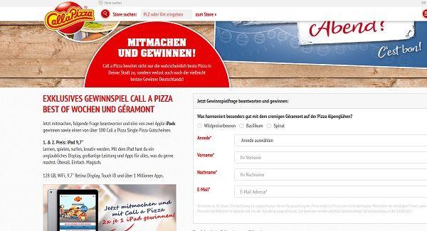 Call a Pizza Gewinnspiel Geramont Apple iPad 2017