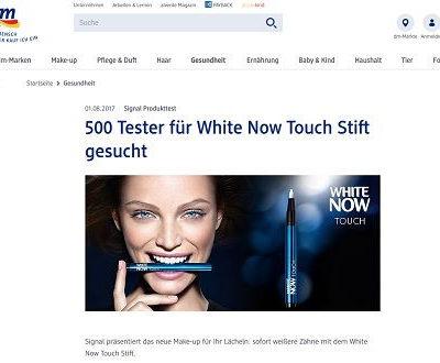DM Gewinnspiel White Now Touch Stift Tester