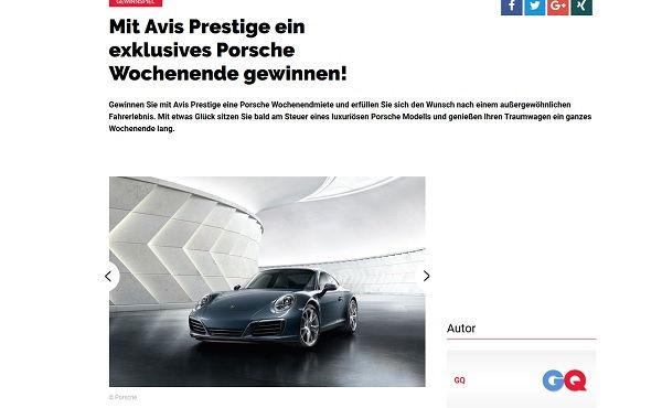 GQ Magazin Gewinnspiel Avis Porsche 2017