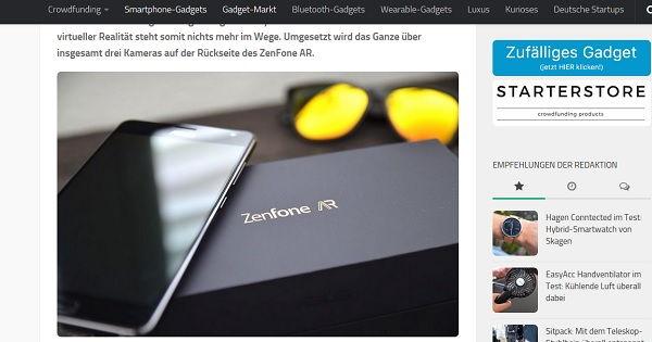Gadget Rausch Gewinnspiel Asus Zenfone AR 2017