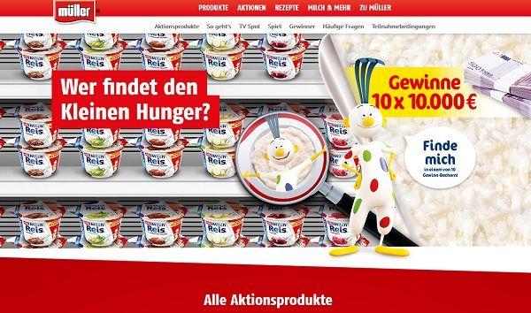 Müller Milchreis Geld Gewinnspiel Kleiner Hunger 2017