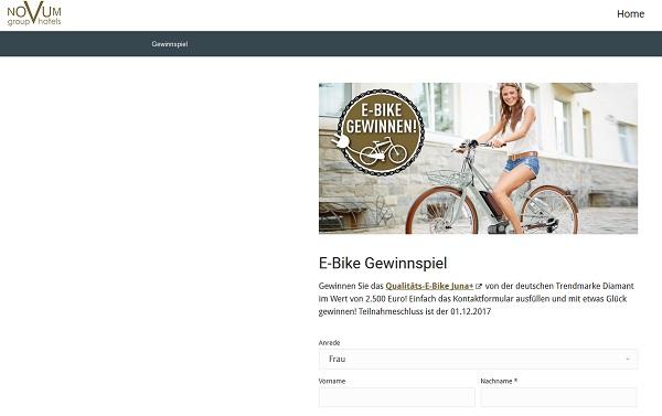 Novum Hotels Gewinnspiel E-Bike 2017