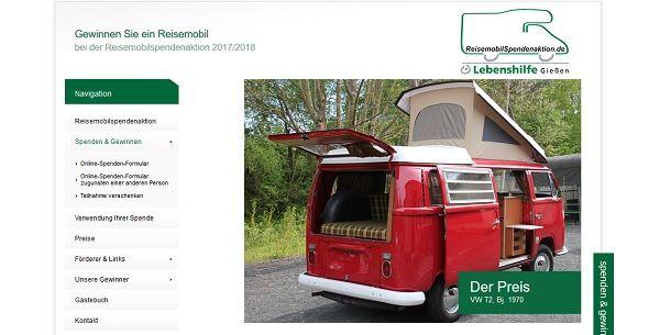 Reisemobil Spendenaktion VW T2 2017