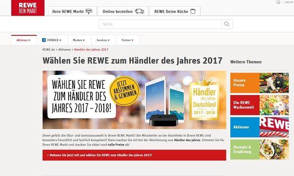 Rewe Gewinnspiel Händler des Jahres 2017