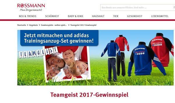 rossmann teamgeist gewinnspiel 600 adidas trainingsanzug. Black Bedroom Furniture Sets. Home Design Ideas