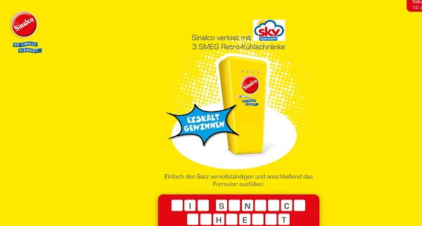 Sinalco SMEG Gewinnspiel Sky Supermärkte 2017