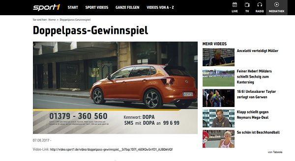 Sport1 Doppelpass Gewinnspiel VW Polo 2017