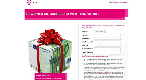 Telekom Bargeld Gewinnspiel 10.000 Euro