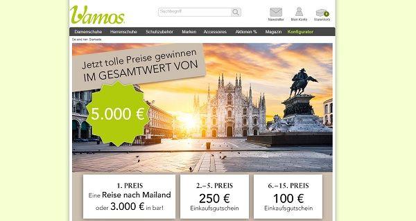 Vamos Gewinnspiel Mailand Reise und Gutscheine 2017