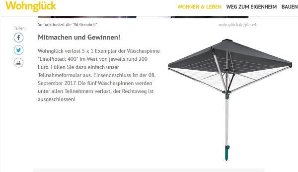 Wäschespinne Gewinnspiel Wohnglück 2017