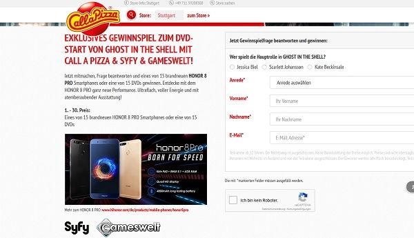 call a pizza Gewinnspiel Honor 8 Smartphone 2017