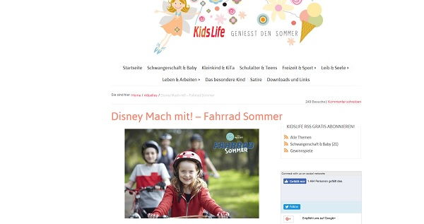 kidslife magazin Gewinnspiel Disney Fahrrad Sommer 2017
