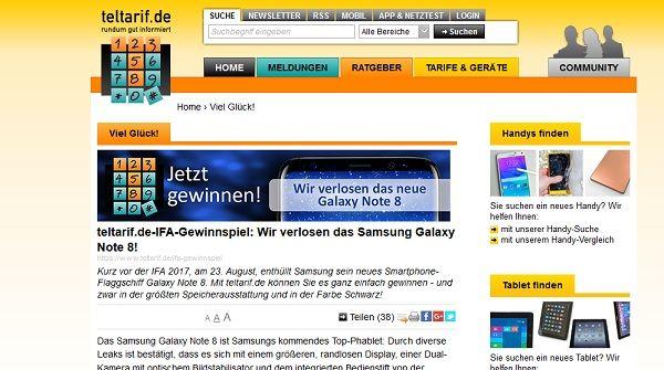 teltarif Samsung Note 8 Gewinnspiel