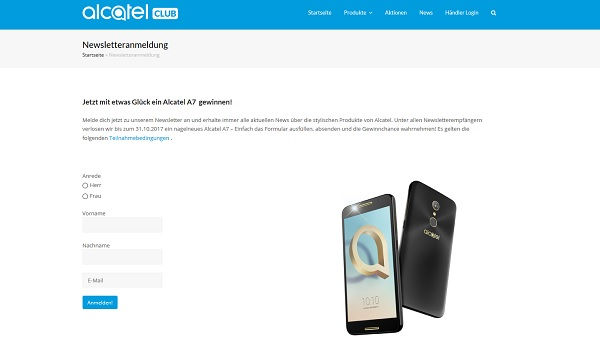 Alcatel Gewinnspiel A7 Smartphone 2017