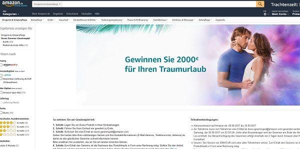 Amazon Durex Gewinnspiel 2.000 Euro Reisegutschein