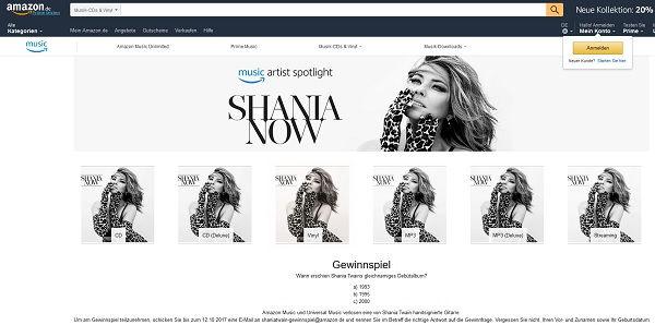 Amazon Gewinnspiel Shania Twain Gitarre 2017