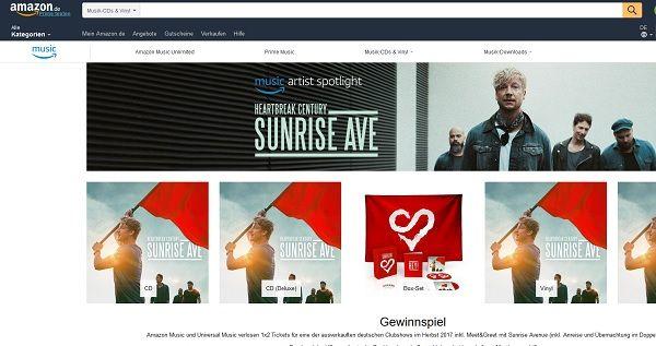 Amazon Gewinnspiel Sunrise Ave Meet&Greet 2017