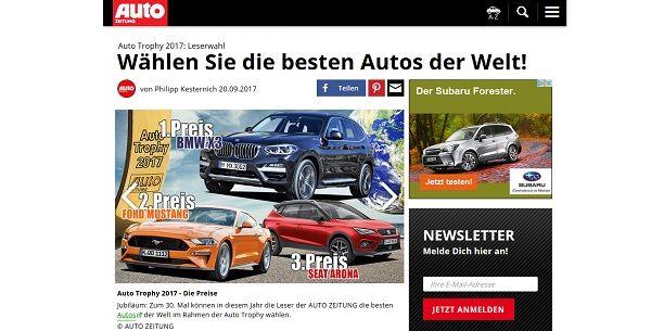 Auto Zeitung Gewinnspiel Auto Trophy 2017
