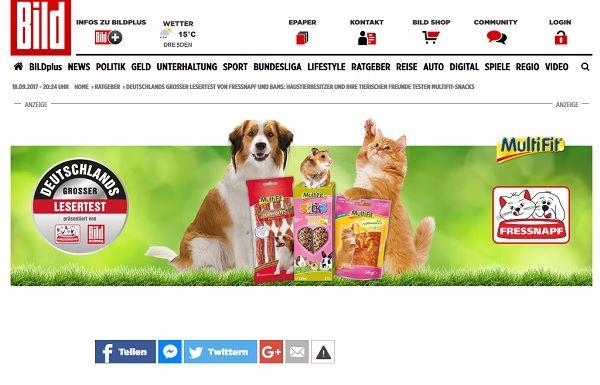 Bild.de und Fressnapf Gewinnspiel 500 Tester Tierfutter