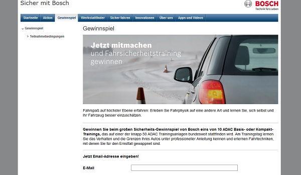 Bosch Gewinnspiel ADAC Fahrsicherheitstraining