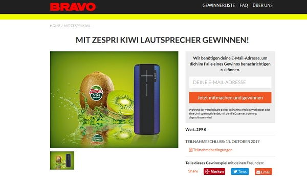 Bravo Gewinnspiel Zespri Kiwi Lautsprecher 2017