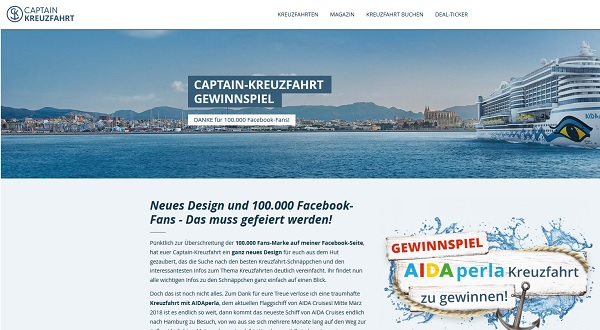 Captain Kreuzfahrt Gewinnspiel Aidaperla Reise 2017