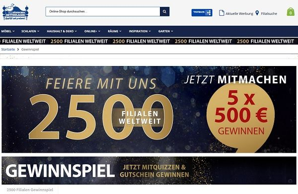 Dänisches Bettenlager Gewinnspiel 2500 Filialen