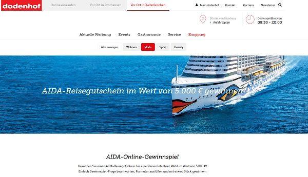 Dodenhof Gewinnspiel AIDA 5.000 Euro Reisegutschein 2017