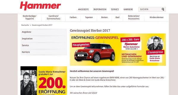 hammer heimtex herbst auto gewinnspiel bmw mini und einkaufsgutscheine. Black Bedroom Furniture Sets. Home Design Ideas