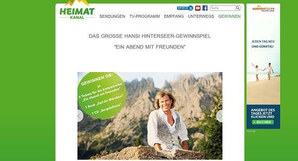 Heimat Kanal Gewinnspiel Hansi Hinterseer Tickets 2017