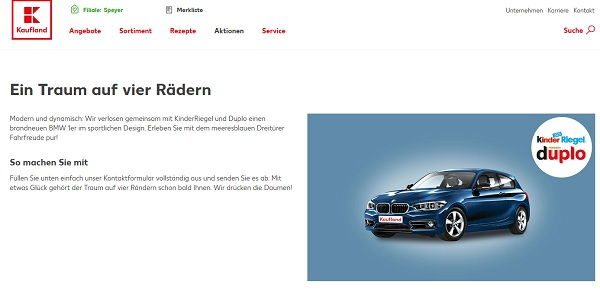 Kaufland Gewinnspiel BMW 1er Kinder Riegel Duplo