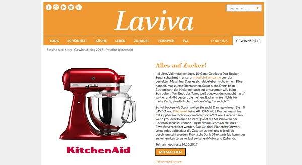 Laviva Com Gewinnspiele kitchenaid artisan küchenmaschine gewinnspiel laviva