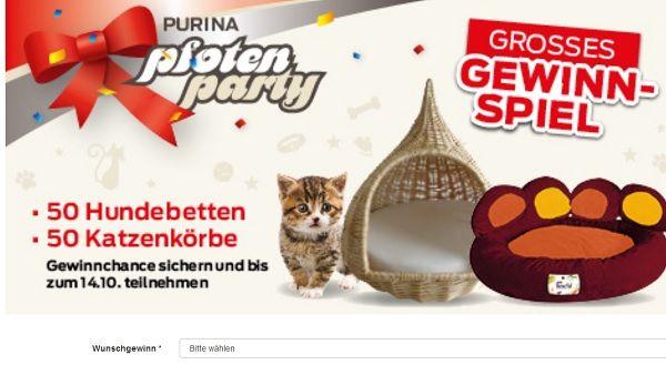 Müller Gewinnspiel Hundebetten und Katzenkörbe Purina 2017