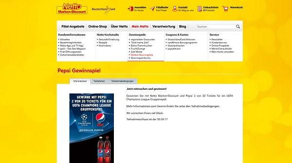 Netto Pepsi Gewinnspiel UEFA Champions League Tickets