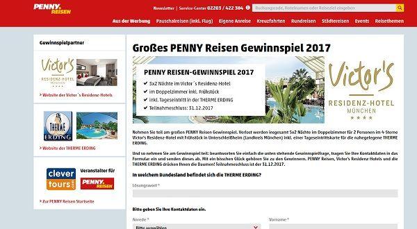 Penny Reisen Gewinnspiel 2017