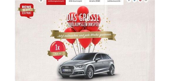 Rewe Gewinnspiel Audi A3 90 Jahre Jubiläum