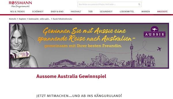 Rossmann Gewinnspiel Aussie Australien Reise 2017