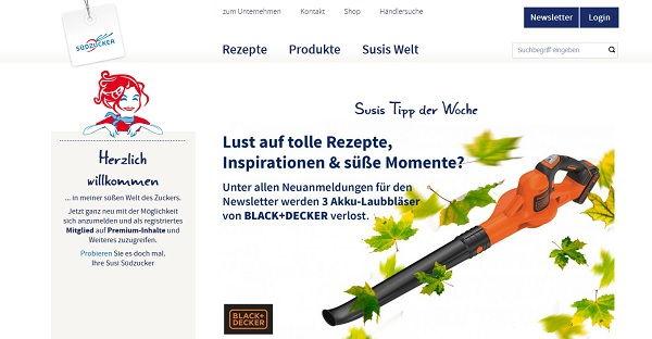 Südzucker Gewinnspiel Black und Decker Laubbläser 2017
