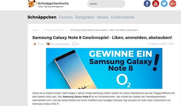 Schnäppchenfuchs Gewinnspiel Samsung Galaxy Note 8