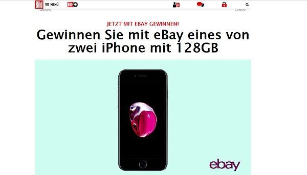 ebay und bild.de Gewinnspiel Apple iPhone 7