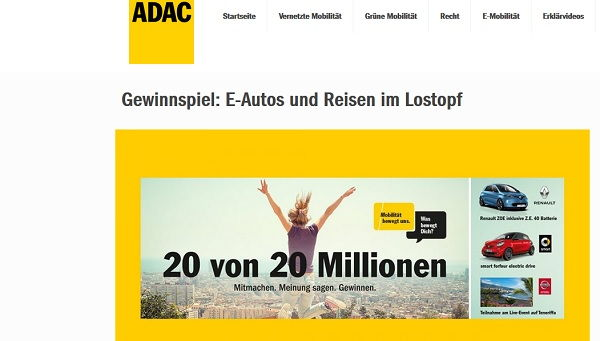 ADAC Auto Gewinnspiel E-Autos 2017