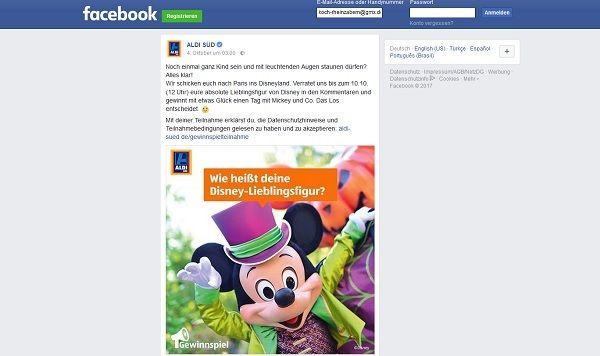 Aldi Süd Gewinnspiel Disneyland Paris Reise