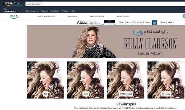 Amazon Gewinnspiel Los Angeles Reise Kelly Clarkson 2017