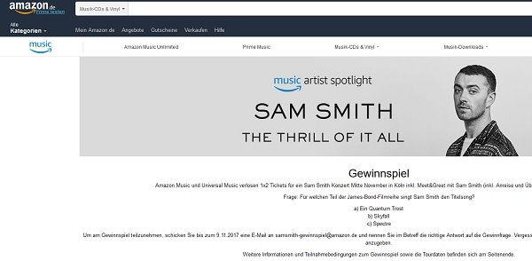 Amazon Gewinnspiel Sam Smith Konzert 2017