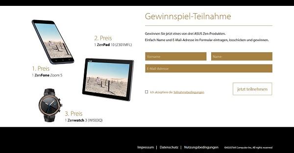 Asus Gewinnspiel Zenpad und Zenfone 2017