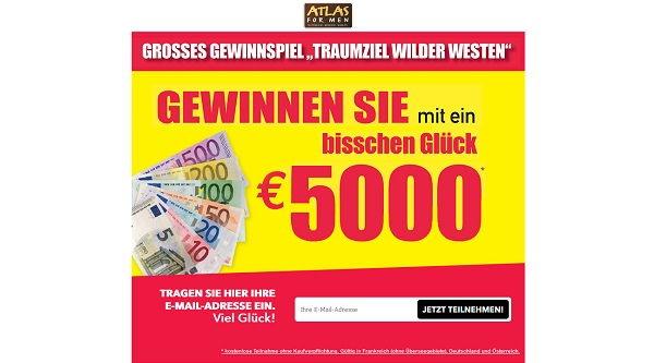 Atlas for men Gewinnspiel 5.000 Euro 2017