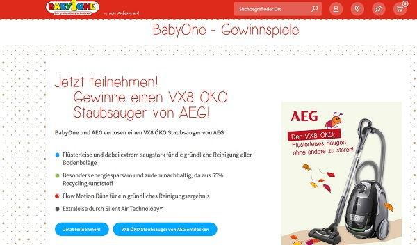 Babyone Gewinnspiel AEG Staubsauger 2017