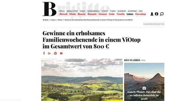 Brigitte Gewinnspiel Familienwochenendurlaub ViOtop 2017